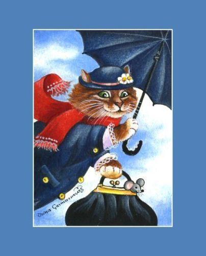 Tabby Cat ACEO Home Print by I Garmashova