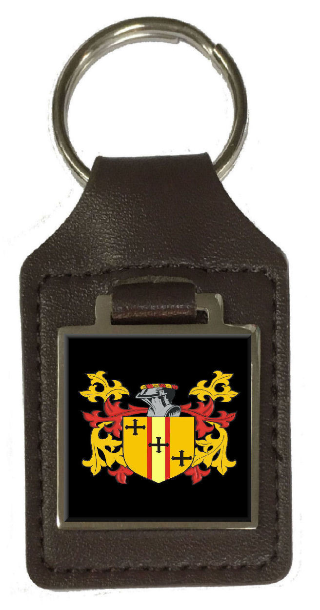 Booth Heraldry Surname Coat Of Arms Brown Leather Keyring Engraved