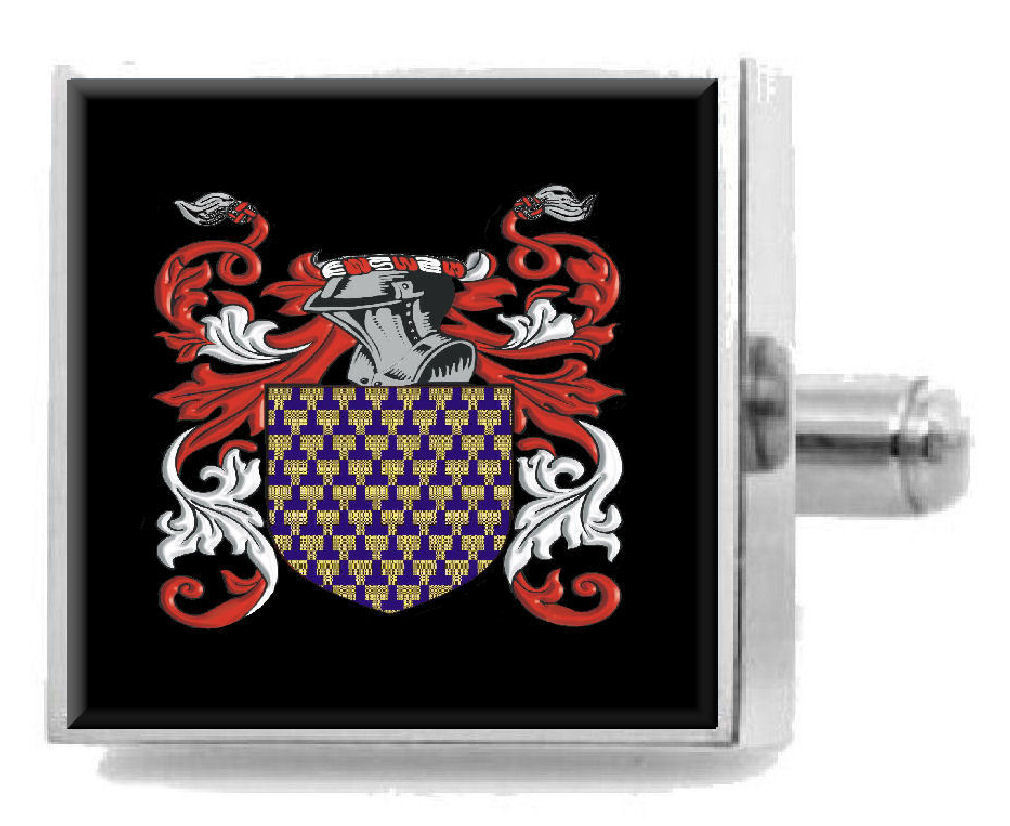 Select Gifts Marple England Heraldry Crest Sterling Silver Cufflinks Engraved Message Box