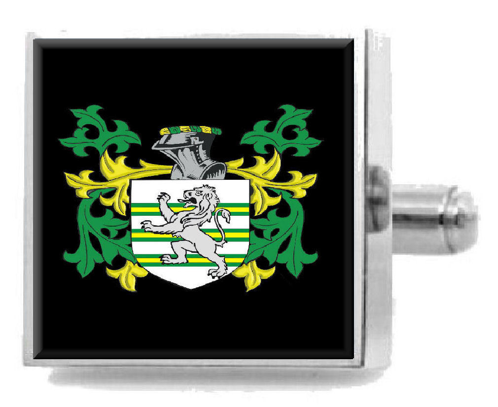 Select Gifts Owgan Wales Family Crest Surname Coat Of Arms Gold Cufflinks Engraved Box